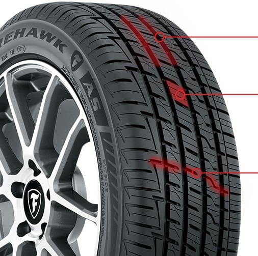 Firehawk AS tire tread diagram
