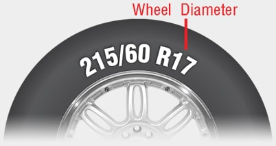 Wheel diameter number on tire sidewall