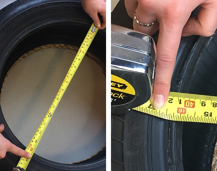 Step 3 - DIY Ottoman - Measuring tire's diameter