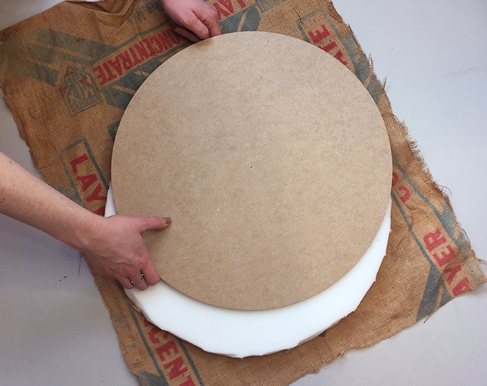 Step 7 - DIY Ottoman - Assembling cushion
