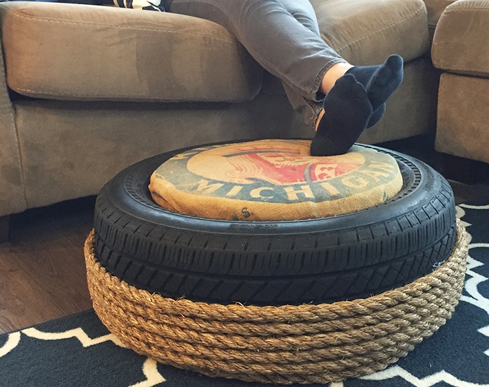 DIY Craft: Recycle an Old Tire into an Ottoman