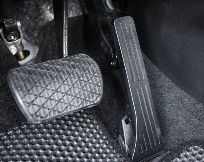 Gas pedal and brake pedal in car