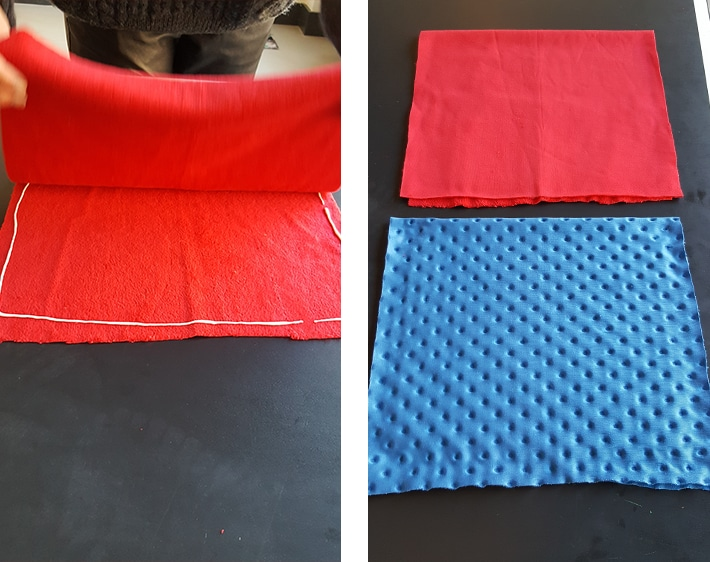 Folding fabric over to make pillowcase for headrest