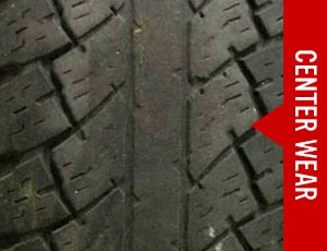 Center wear on tire