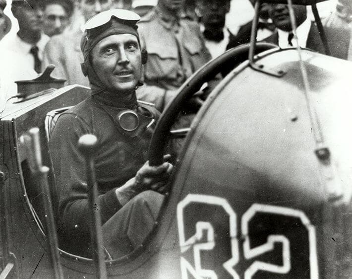 Ray Harroun in his Marmon Wasp race car at the first Indianapolis 500