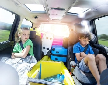 Siblings fighting in the back seat of the car
