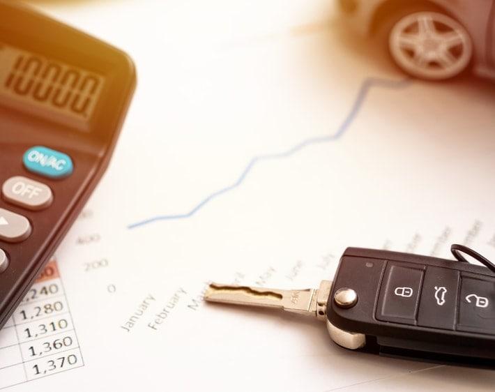 Car keys and a calculator