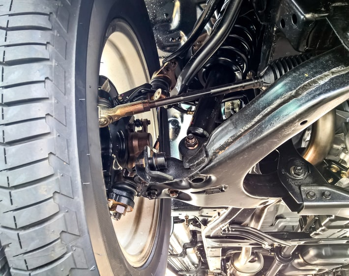 Close up of a vehicle suspension system